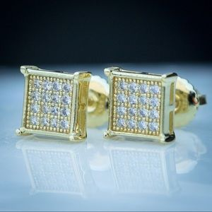 10k Gold Iced Out Square Diamond Earrings